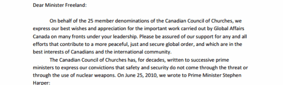 Letter Regarding Canada's Absence from Multilateral Process to Ban Nuclear Weapons